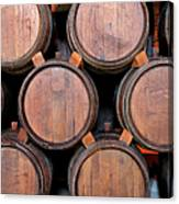 Wine Barrels Stacked Inside Winery Canvas Print