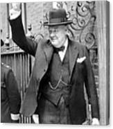 Winston Churchill Showing The V Sign Canvas Print