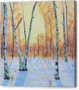 Winter Birches-cardinal Left Canvas Print