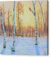 Winter Birches-cardinal Right Canvas Print