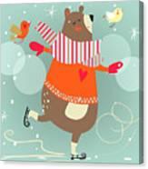 Winter Cartoon Bear Canvas Print