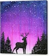 Winter Forest Galaxy Reindeer Canvas Print
