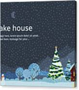 Winter Night, House In The Mountains Canvas Print