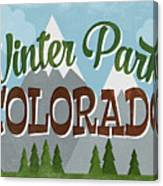 Winter Park Colorado Retro Mountains Canvas Print