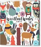 Winter Woodland Animals Cute Forest Canvas Print