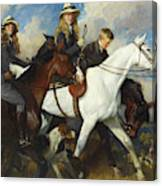With The York And Ainsty, The Children Of Mr Edward Lycett Green Canvas Print