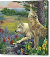 Wolves In The Spring Canvas Print