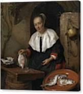 Woman Cleaning Fish Canvas Print