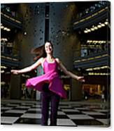 Woman Dancing In Old Brewery Shopping Canvas Print