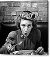 Woman Eating Spaghetti In Restaurant 5 Canvas Print
