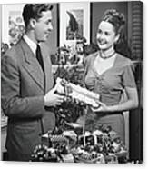 Woman Giving Gift To Man, B&w Canvas Print