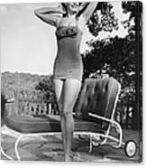 Woman In Bathing Suit Outdoors Canvas Print