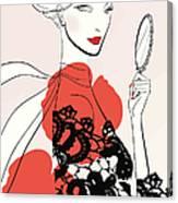 Woman Looking In Handheld Mirror Canvas Print