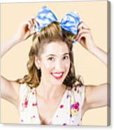 Woman Playing With Hair Tie. Retro Accessories Canvas Print
