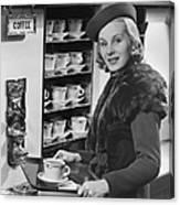 Woman Wcoffee On Tray Canvas Print