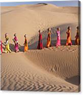 Women Fetching Water From The Sparse Canvas Print