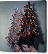 Women Modeling Festive Christmas Hairdos Canvas Print