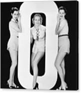 Women Posing With Huge Letter O Canvas Print