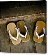 Wood Sandals Canvas Print