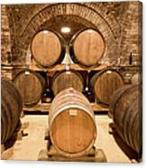 Wooden Barrels In Wine Cellar Canvas Print