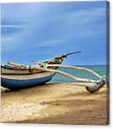 Wooden Catamaran By The Sea Shore Canvas Print