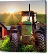 Working John Deere In The Morning Sunshine Canvas Print