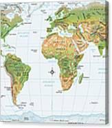 World Map, Physical Canvas Print