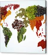 World Map With Spices And Herbs Canvas Print