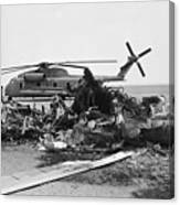 Wreckage Of American Helicopters Canvas Print