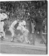 Yankees And Red Sox Players In Scuffle Canvas Print