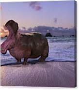 Yawning Coastal Hippo Hello Canvas Print