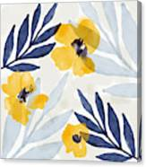 Yellow And Navy 1- Floral Art By Linda Woods Canvas Print