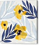 Yellow And Navy 2- Floral Art By Linda Woods Canvas Print