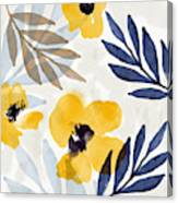 Yellow And Navy 3- Floral Art By Linda Woods Canvas Print