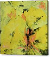 Yellow Blooms Coral Accents Canvas Print