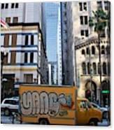 Yellow Graffiti Truck Downtown La Canvas Print