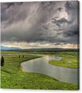 Yellowstone River In Hayden Valley Canvas Print