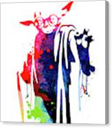 Yoda Wearing Classes Watercolor Canvas Print
