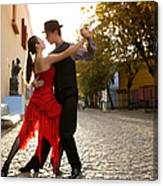 Young Couple Dancing Tango In Street Canvas Print