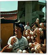 Young Fans Hold Up Baseballs For Royals Star George Brett To Sign Canvas Print