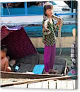Young Girl With Snake 2, Cambodia Canvas Print