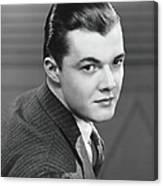 Young Man Wearing Pinstripe Jacket Canvas Print