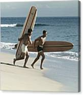 Young Men Running On Beach With Canvas Print