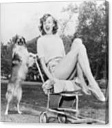 Young Woman And Her Pushy Pet Dog Canvas Print