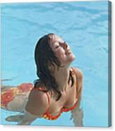 Young Woman In Bikini At Swimming Pool Canvas Print