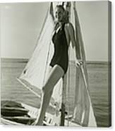 Young Woman Posing On Sailboat Canvas Print