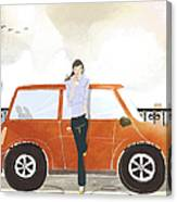 Young Woman Standing In Front Of Car Canvas Print