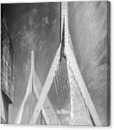 Zakim Bridge Boston Massachusetts Black And White Canvas Print