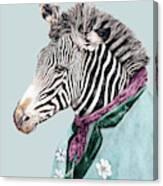 Zebra Blue Canvas Print