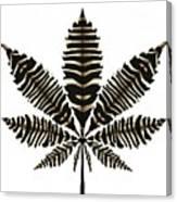 Zebra Pattern Marijuana Leaf 2 Canvas Print